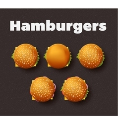 Top view of hamburgers realistic vector