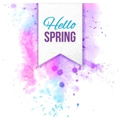 Hello spring text bage over watercolor background vector