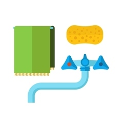 Water tap towel sponge flat icon vector