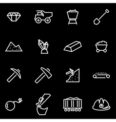 Line mining icon set vector