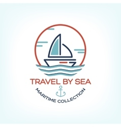 Travel by sea maritime collection vector