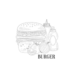 Burger ketchup and mustard hand drawn realistic vector