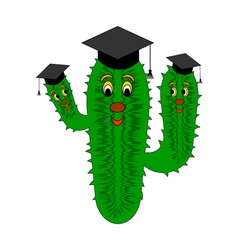 A funny cartoon cactus in a magister cap vector image