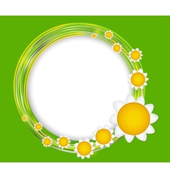 Abstract background with frame and flowers vector image vector image