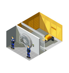 Bank gold vault isometric composition vector