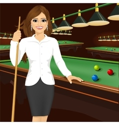 Beautiful business woman holding cue stick vector