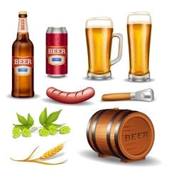 Beer realistic icons collection vector