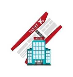 boarding pass and hotel icon vector image