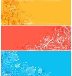 bright floral banners vector image vector image