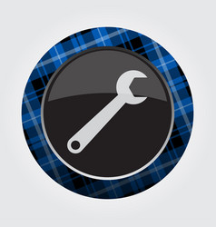 Button with blue black tartan - spanner icon vector