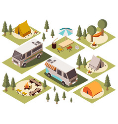 camp elements isometric set vector image vector image