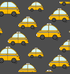 Cartoon nyc taxi pattern cute yellow cab cars vector