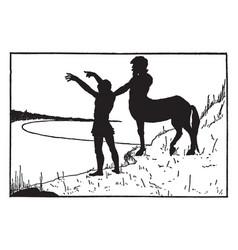 Centaur man standing on shore vintage vector