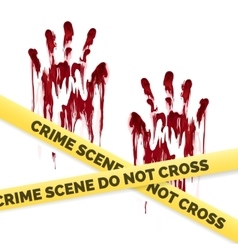 Crime poster with bloody handprints vector image vector image