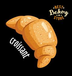 croissant for breakfast baked bread vector image