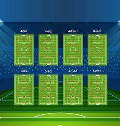 Different soccer team arrangement football vector