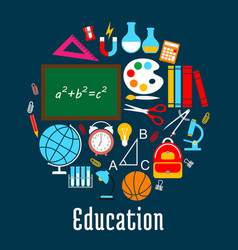 education round symbol made up of school supplies vector image vector image