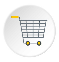 Empty supermarket cart with yellow handles icon vector