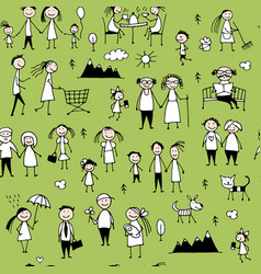 Family set seamless pattern design vector