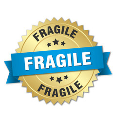 Fragile 3d gold badge with blue ribbon vector
