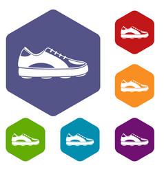 Golf shoe icons set hexagon vector