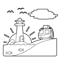 Holiday on car by sea concept outline style vector