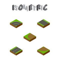 Isometric road set of cracks bitumen without vector