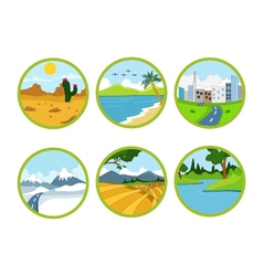 landscape cartoon set vector image vector image