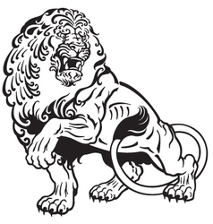 Lion tattoo black white vector
