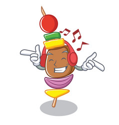Listening music barbecue character cartoon style vector