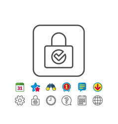 Lock with check line icon private locker sign vector