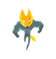 Muscly fox super hero character vector