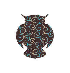 Owl bird color silhouette animal vector