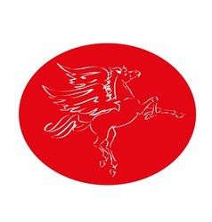 Red horse with wings logo fly vector