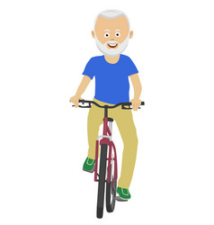 Senior man riding a bicycle over white background vector