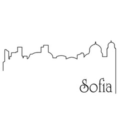 Sofia city one line drawing background vector