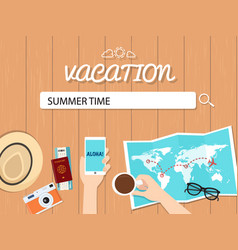 summer time search graphic for vacation vector image vector image