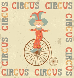 Vintage circus clown vector image