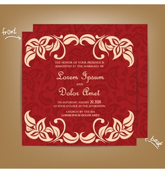 wedding invitation with red bakground vector image