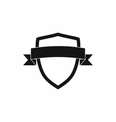 White shield with black ribbon icon simple style vector