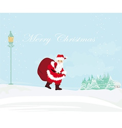 Winter landscape with house and santa vector