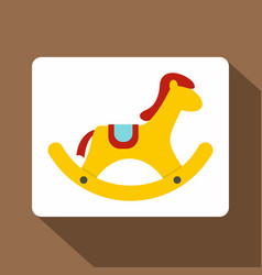 Yellow wooden rocking horse icon flat style vector