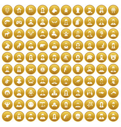 100 avatar icons set gold vector