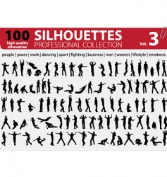 100 silhouettes vector image vector image