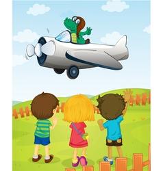 Crocodile flying plane vector image