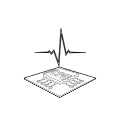 CPU with a heart beat icon outline style vector image