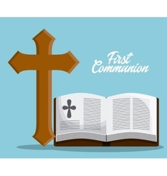 Bible book cross icon graphic vector