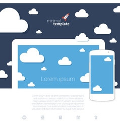 Cloud scape mock up vector