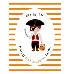 Happy halloween hunt card with cute pirate vector