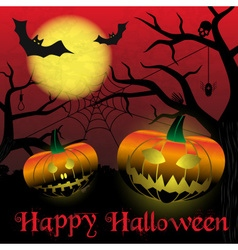 Happy halloween carved pumpkins and scary night vector